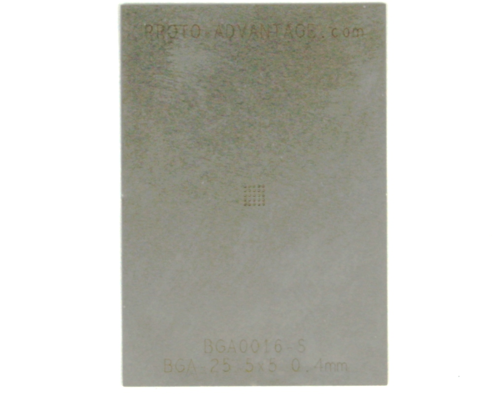 BGA-25 (0.4 mm pitch, 5 x 5 grid) Stainless Steel Stencil 0