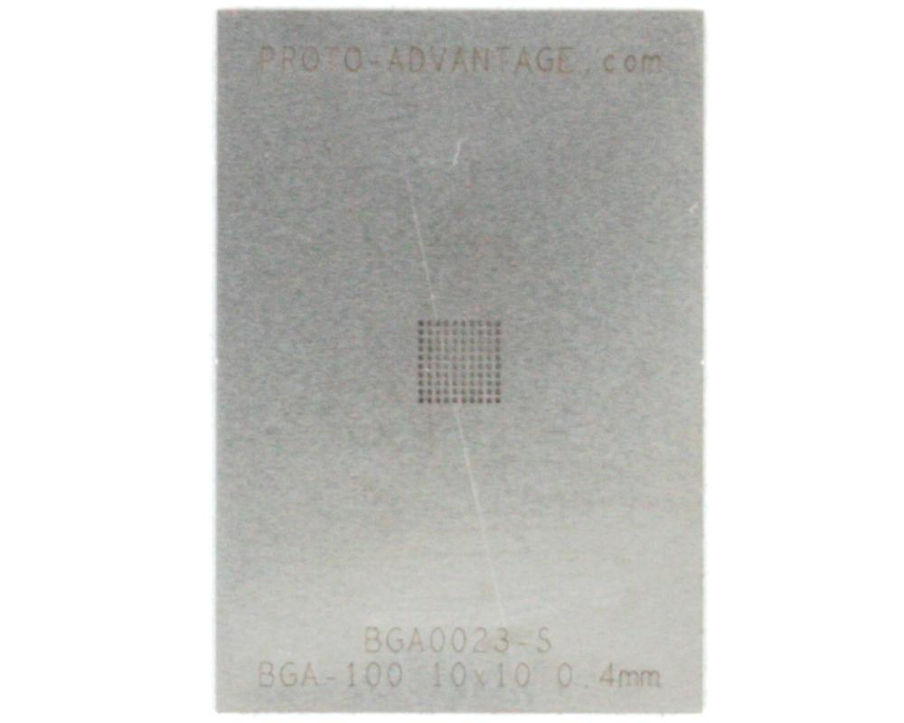 BGA-100 (0.4 mm pitch, 10 x 10 grid) Stainless Steel Stencil 0