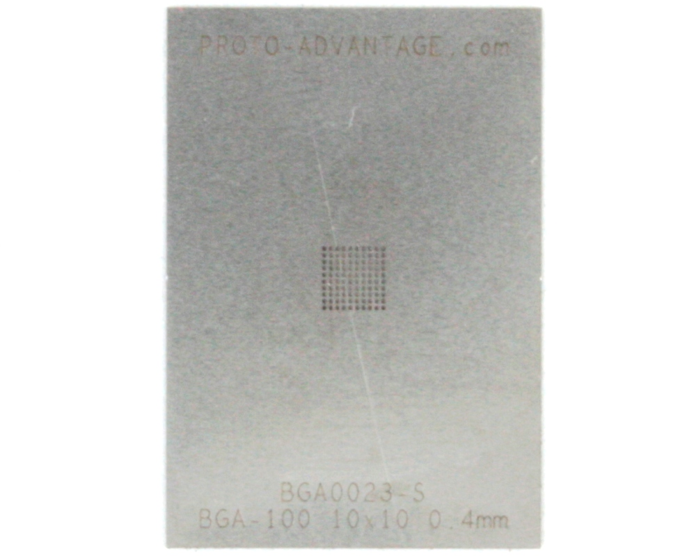 BGA-100 (0.4 mm pitch, 10 x 10 grid) Stainless Steel Stencil 0