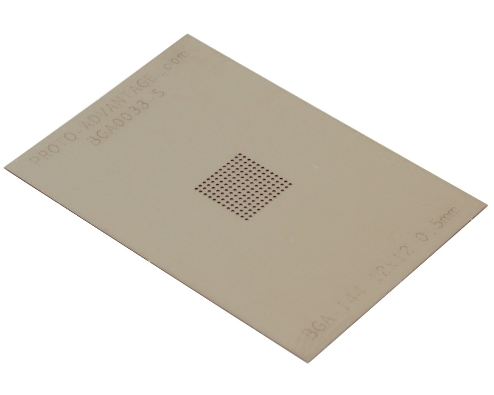 BGA-144 (0.5 mm pitch, 12 x 12 grid) Stainless Steel Stencil 0