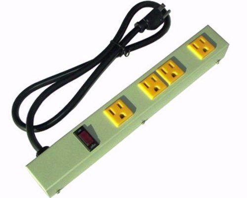 12 inch - 4 Outlet Metal Power Strip - Beige 0