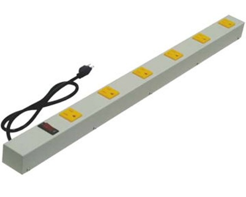 24 inch - 6 Outlet Power Strip-Yellow Outlets-Beige 0