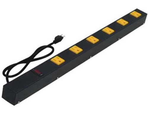 24 inch - 6 Outlet Metal Power Strip with Surge Protector-Yellow Outlets-Black 0