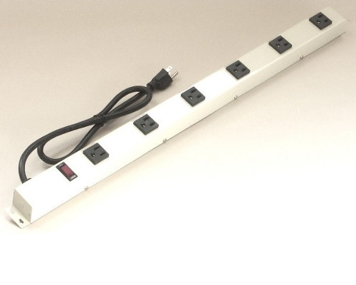 24 inch - 6 Vertical Outlet Metal Power Strip, Beige 0