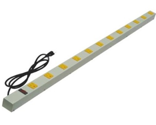 48 inch - 12 Outlet Power Strip with Surge Protector-Yellow Outlets - Beige 0