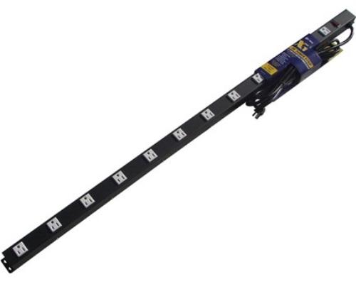 48 inch - 12 Outlet Metal Power Strip - Black 0
