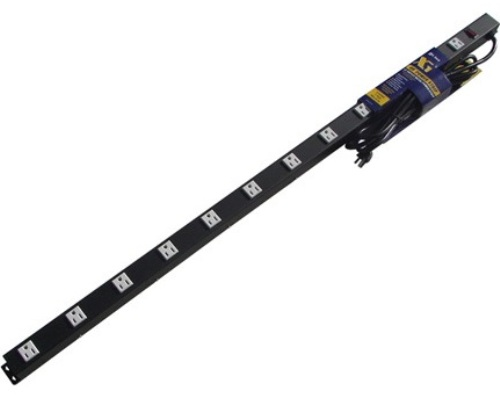 48 inch - 12 Outlet Metal Power Strip - Black 0