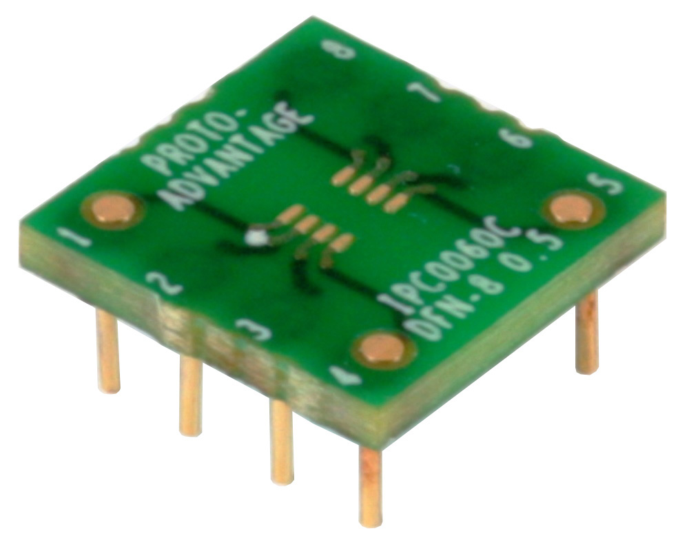 DFN-8 to DIP-8 SMT Adapter (0.5 mm pitch, 2.0 x 2.0 mm body) Compact Series 0