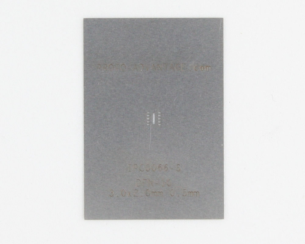 DFN-10 (0.5 mm pitch, 3.0 x 2.0 mm body) Stainless Steel Stencil 0