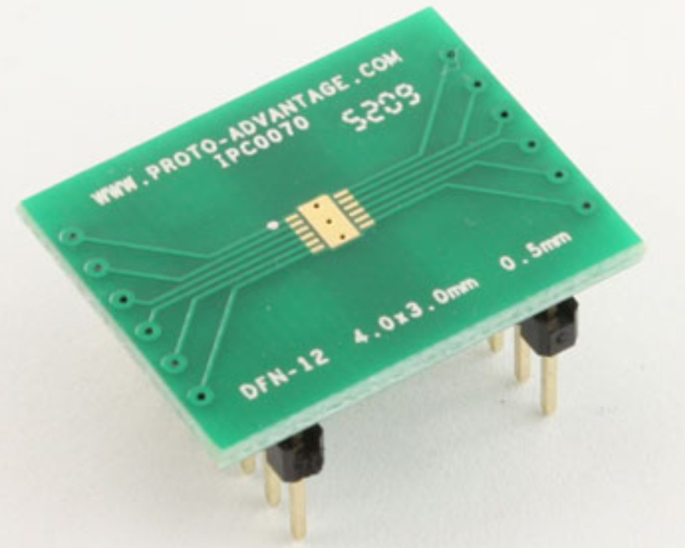 DFN-12 to DIP-16 SMT Adapter (0.5 mm pitch, 4.0 x 3.0 mm body) 0
