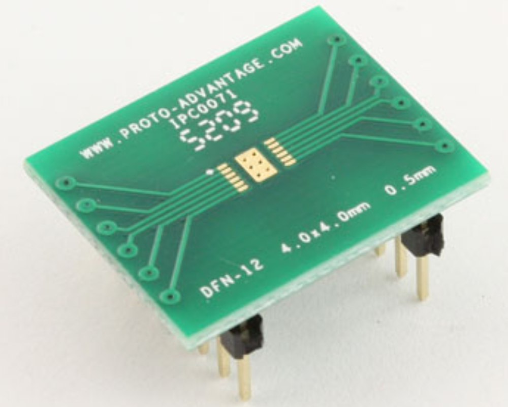 DFN-12 to DIP-16 SMT Adapter (0.5 mm pitch, 4.0 x 4.0 mm body) 0