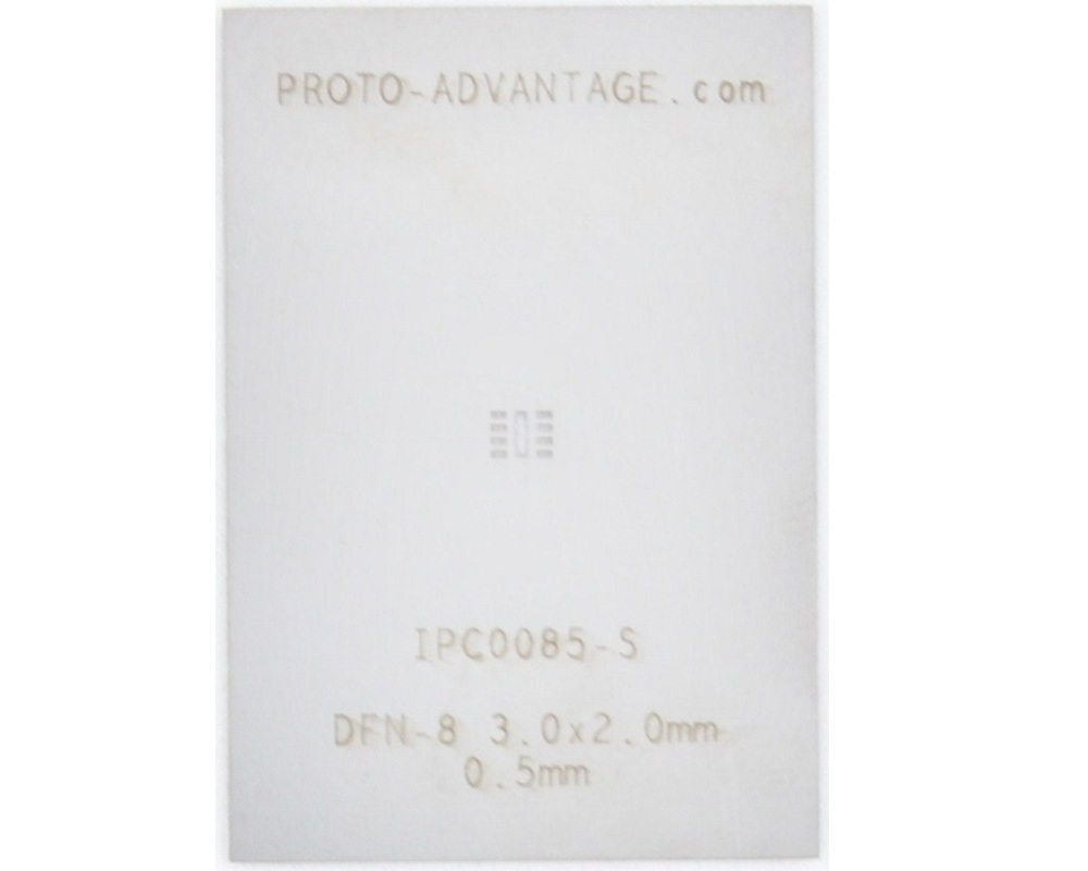 DFN-8 (0.5 mm pitch, 3.0 x 2.0 mm body) Stainless Steel Stencil 0