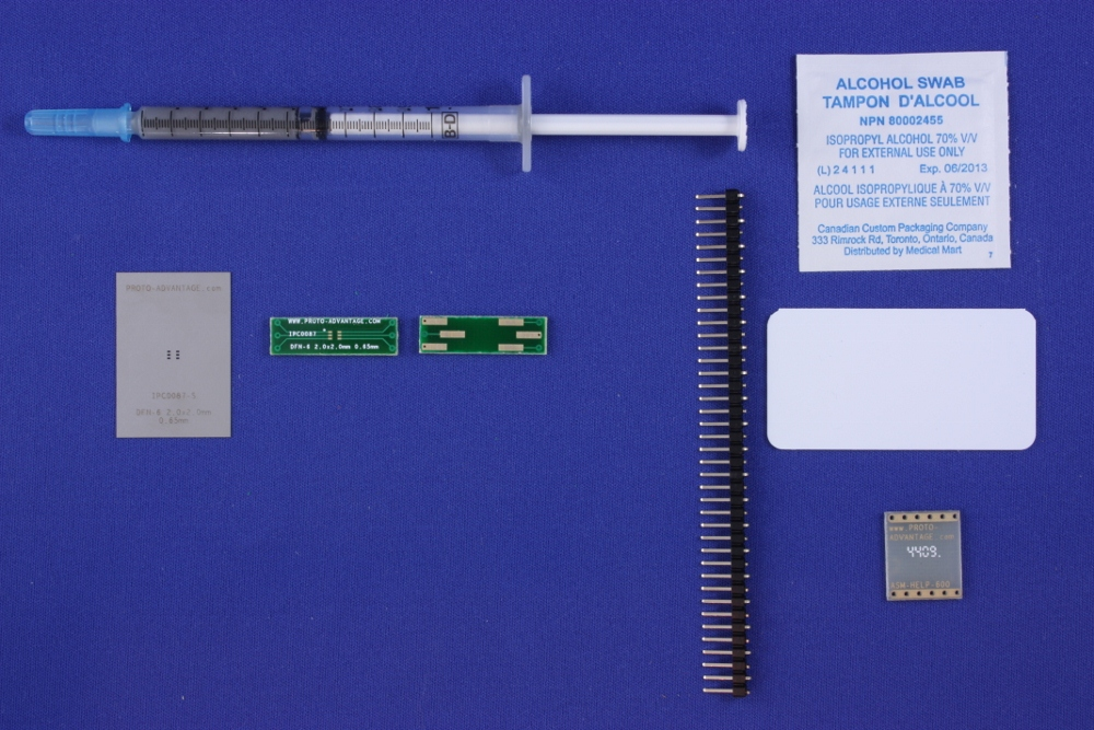 DFN-6 (0.65 mm pitch, 2.0 x 2.0 mm body) PCB and Stencil Kit 0