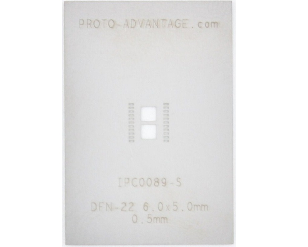 DFN-22 (0.5 mm pitch, 6.0 x 5.0 mm body) Stainless Steel Stencil 0
