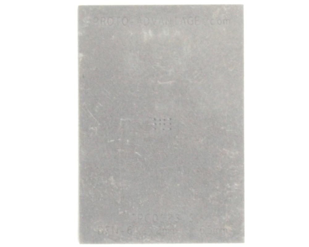 DFN-6 (0.65 mm pitch, 2.0 x 2.0 mm body, split pad) Stainless Steel Stencil 0