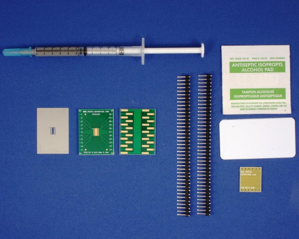 DFN-22 (0.5 mm pitch, 6 x 3 mm body) PCB and Stencil Kit 0