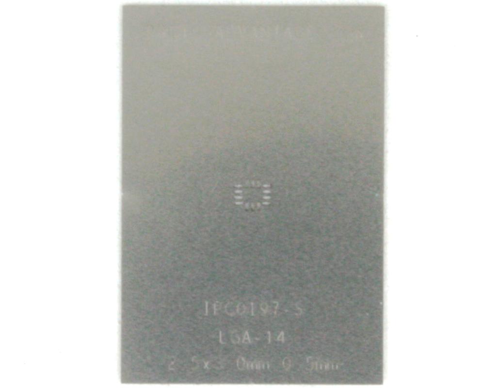 LGA-14 (0.5 mm pitch, 2.5 x 3.0 mm body) Stainless Steel Stencil 0