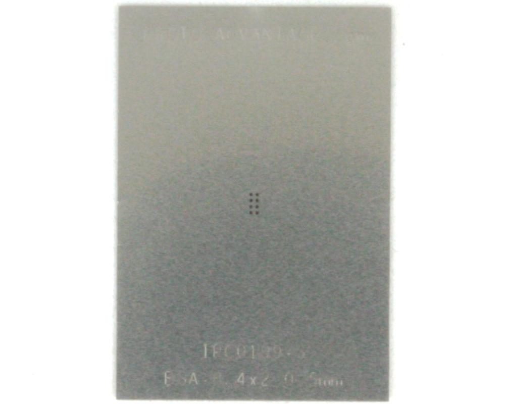 BGA-8 (0.5 mm pitch, 2 x 1 mm body) Stainless Steel Stencil 0
