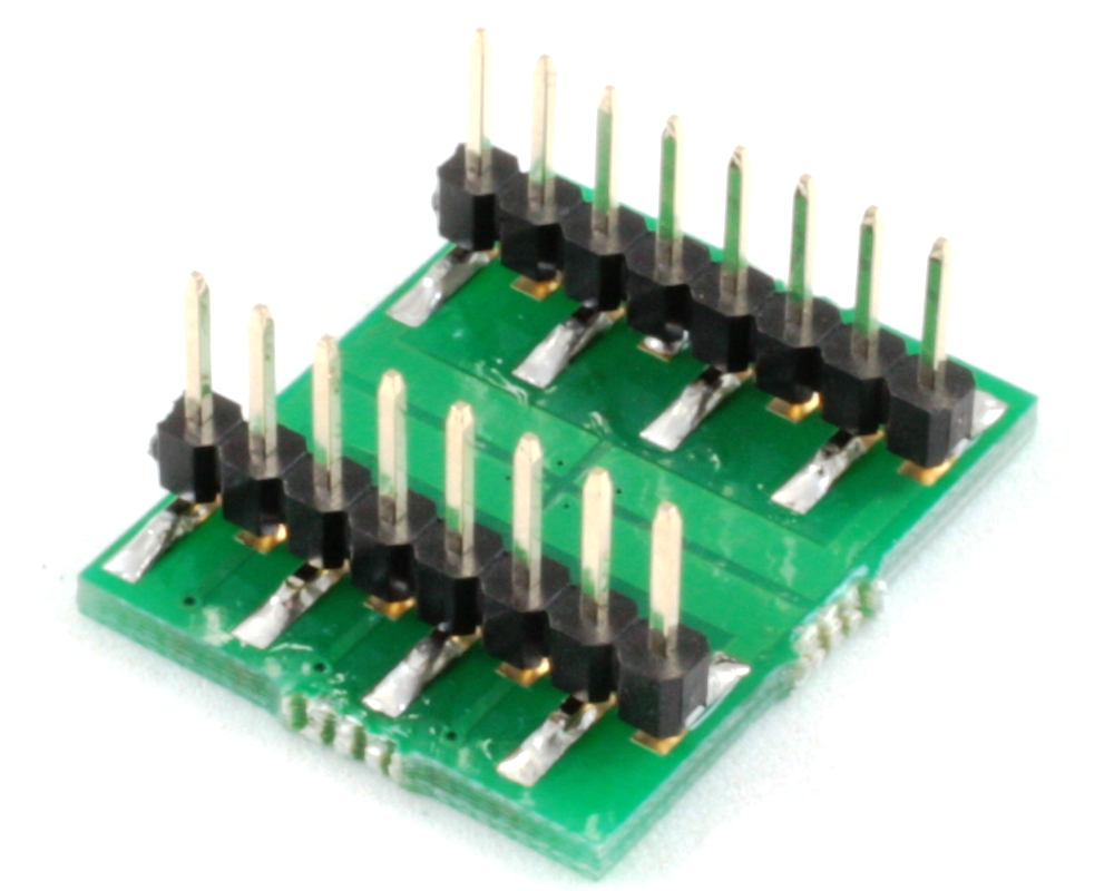 DFN-12 to DIP-16 SMT Adapter (0.8 mm pitch, 5 x 4.5 mm body, 4 split pads 2.1x1) 1