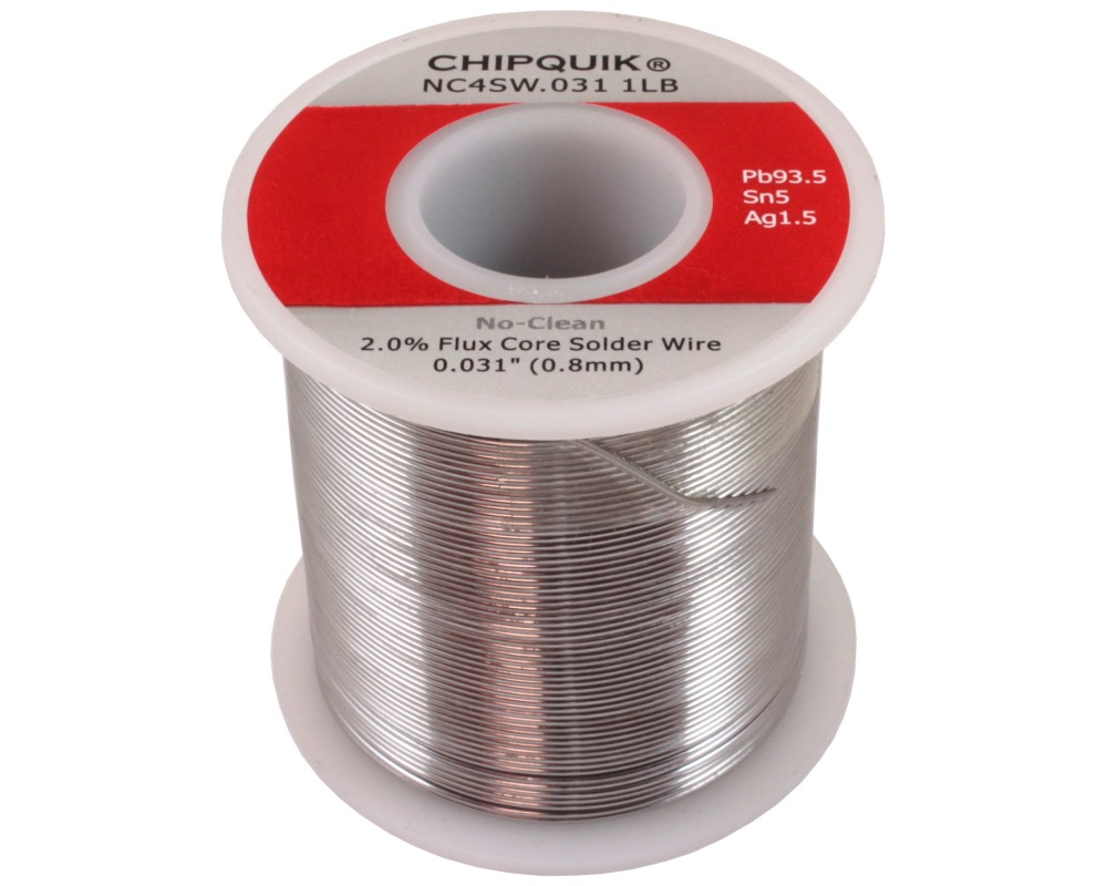 Solder Wire 93.5/5/1.5 Lead/Tin/Silver No-Clean .031 1lb 0