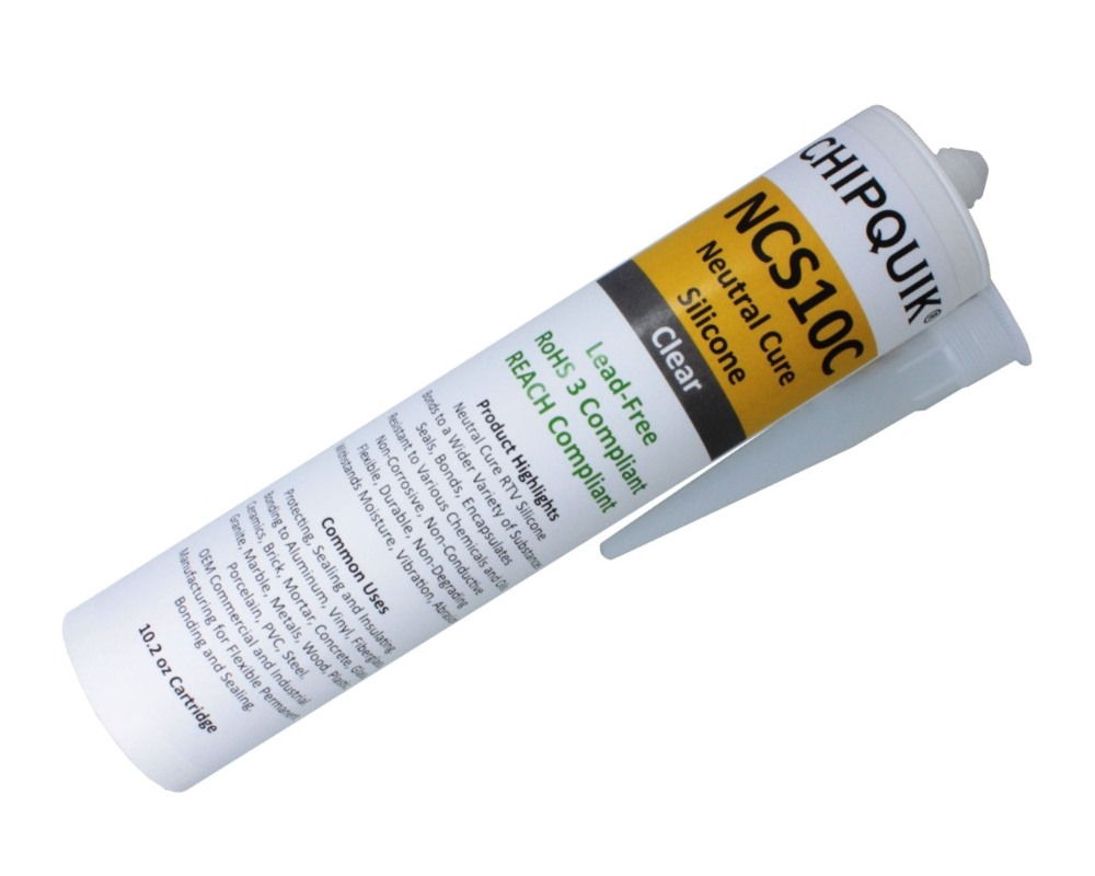 Neutral Cure Silicone Adhesive Sealant (Clear) 10.2oz Cartridge 0