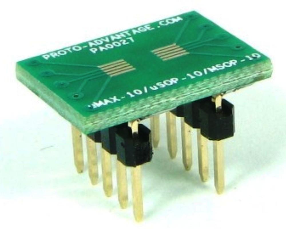 uMAX-10/uSOP-10/MSOP-10 to DIP-10 SMT Adapter (0.5 mm pitch) 0