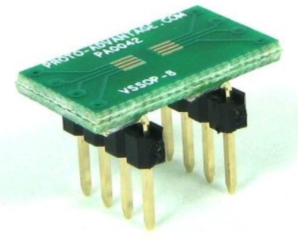 VSSOP-8 to DIP-8 SMT Adapter (0.5 mm pitch) 0