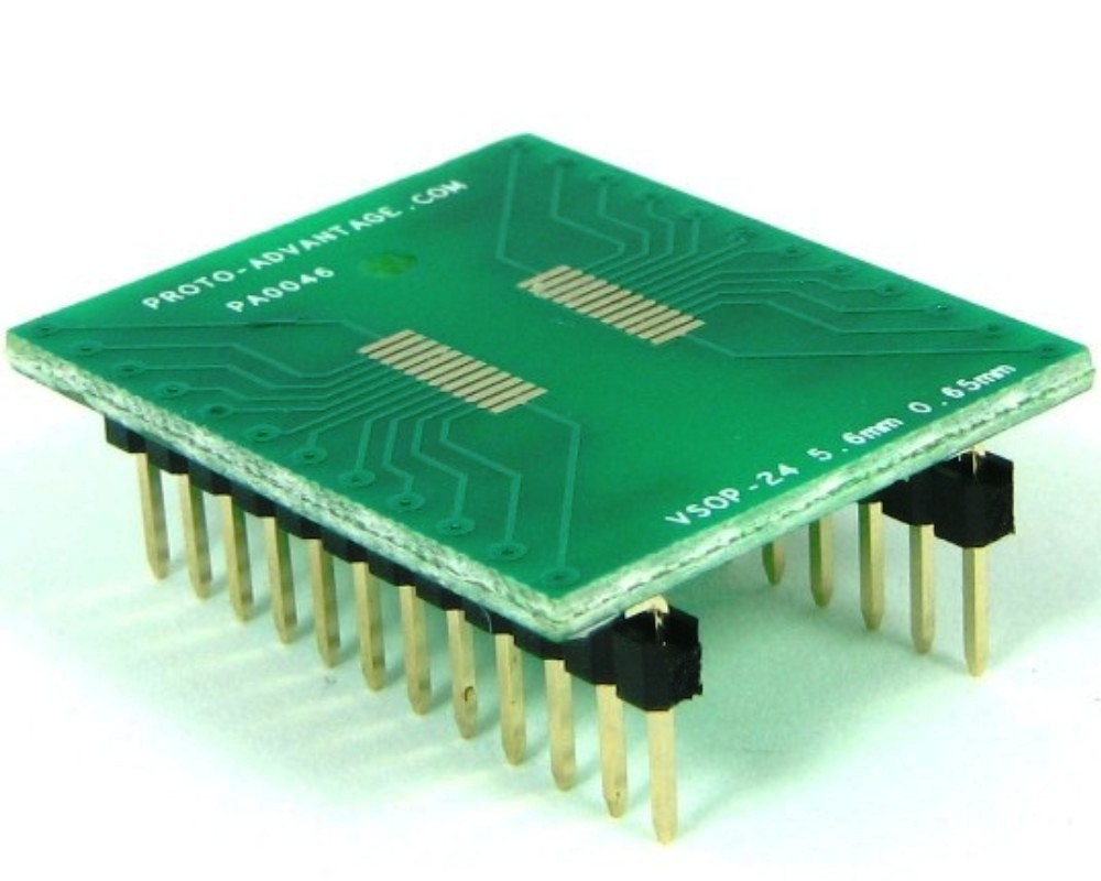 VSOP-24 to DIP-24 SMT Adapter (0.65 mm pitch, 5.6 mm body) 0