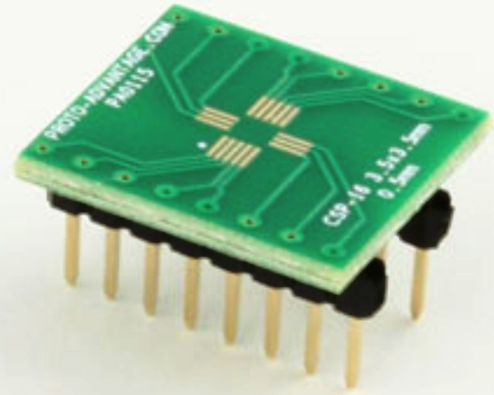 CSP-16 to DIP-16 SMT Adapter (0.5 mm pitch, 3.5 x 3.5 mm body) 0