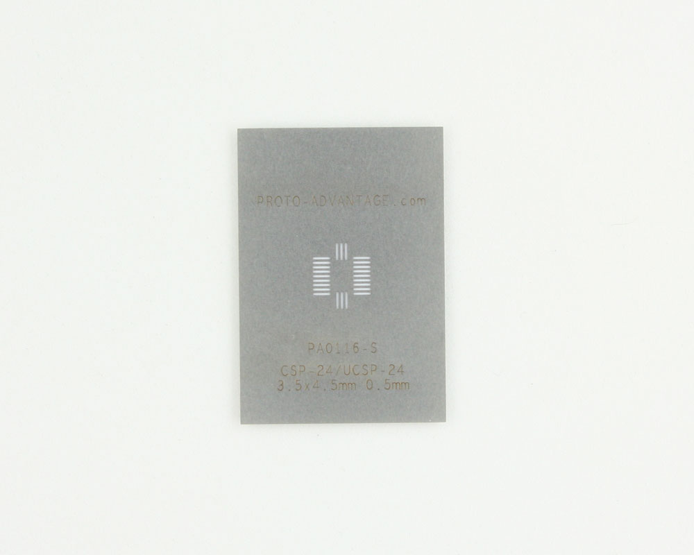 CSP-24/UCSP-24 (0.5 mm pitch, 3.5 x 4.5 mm body) Stainless Steel Stencil 0