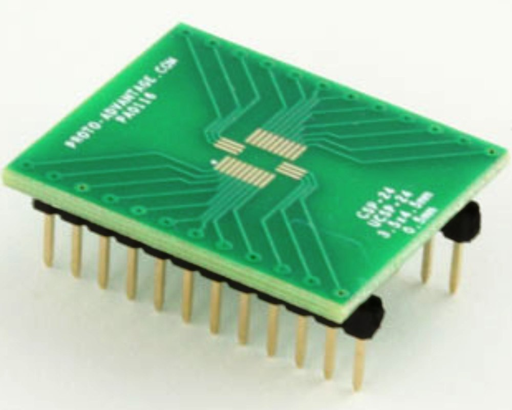 CSP-24/UCSP-24 to DIP-24 SMT Adapter (0.5 mm pitch, 3.5 x 4.5 mm body) 0