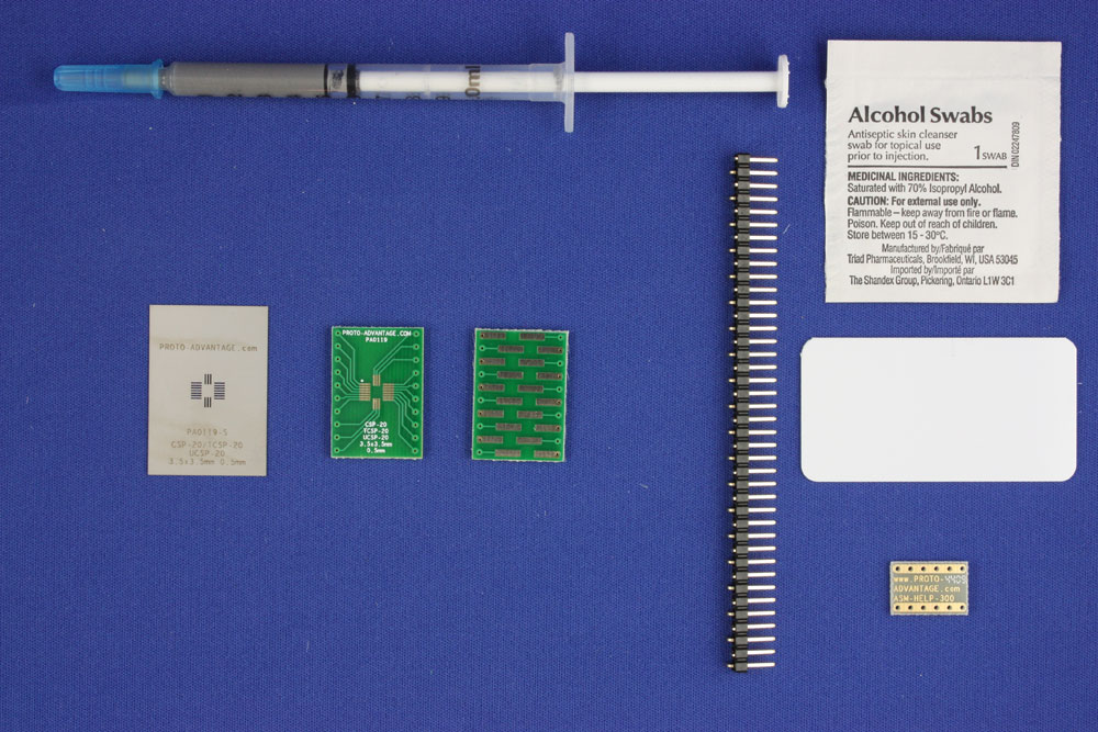 CSP-20 (0.5 mm pitch, 3.5 x 3.5 mm body) PCB and Stencil Kit 0