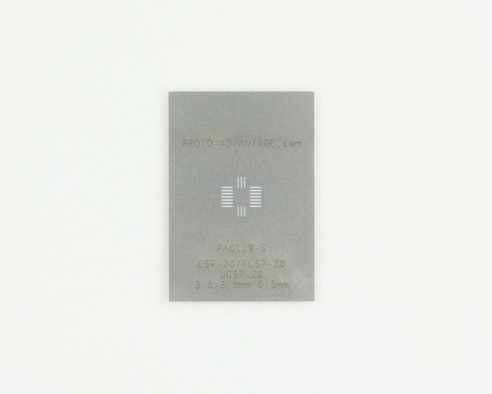 CSP-20/TCSP-20/UCSP-20 (0.5 mm pitch, 3.5 x 3.5 mm body) Stainless Steel Stencil 0