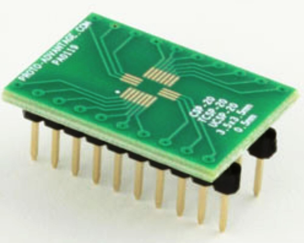 CSP-20/TCSP-20/UCSP-20 to DIP-20 SMT Adapter (0.5 mm pitch, 3.5 x 3.5 mm body) 0