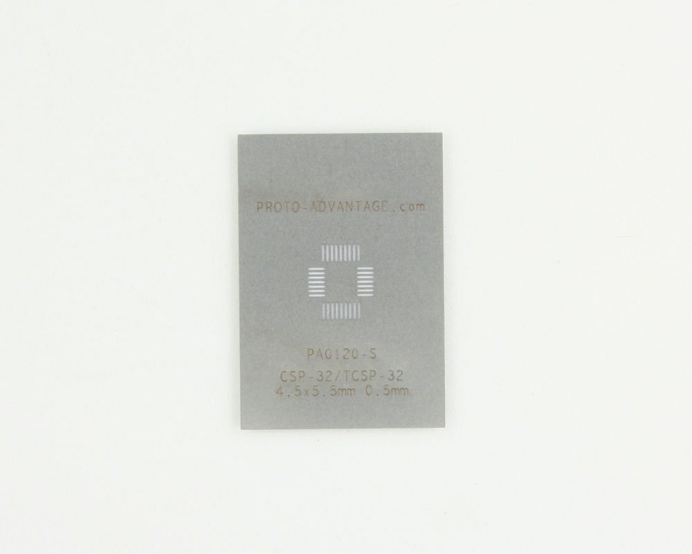 CSP-32/TCSP-32 (0.5 mm pitch, 4.5 x 5.5 mm body) Stainless Steel Stencil 0