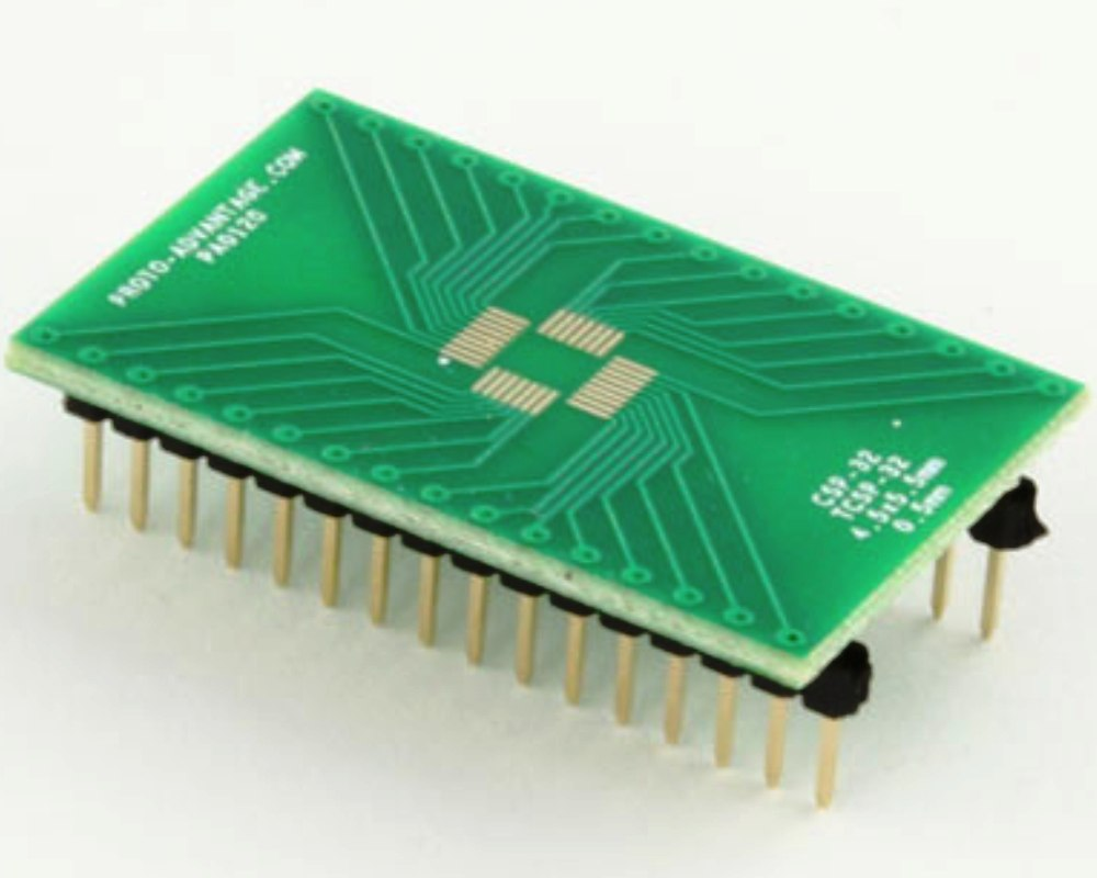 CSP-32/TCSP-32 to DIP-32 SMT Adapter (0.5 mm pitch, 4.5 x 5.5 mm body) 0