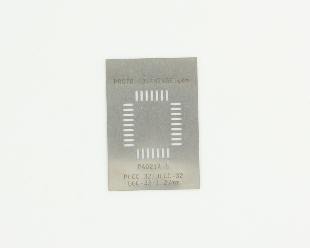 PLCC-32 (50 mils / 1.27 mm pitch) Stainless Steel Stencil 0