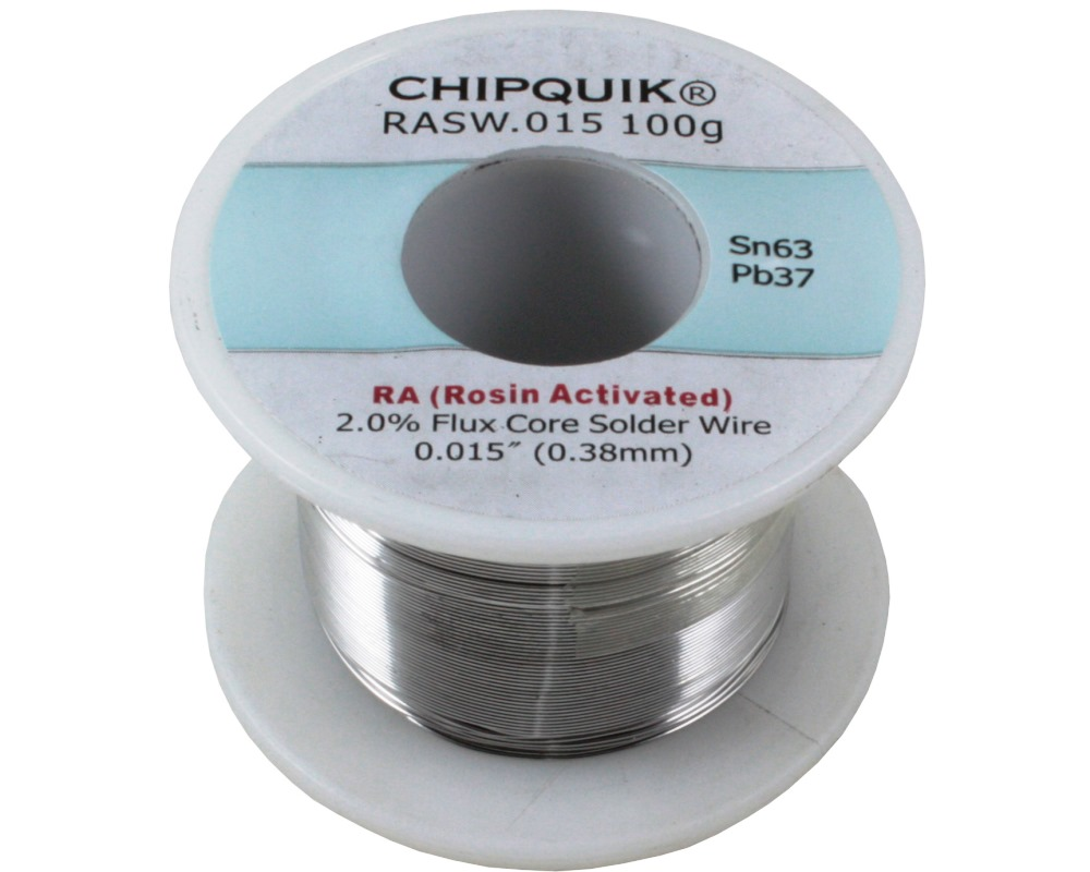 Solder Wire 63/37 Tin/Lead Rosin Activated .015 100g ULTRA THIN 0