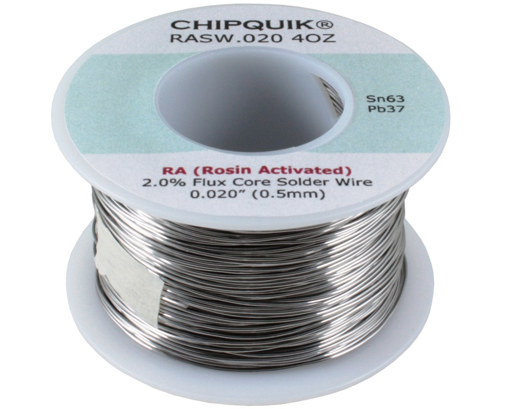 Solder Wire 63/37 Tin/Lead Rosin Activated .020 4oz 0