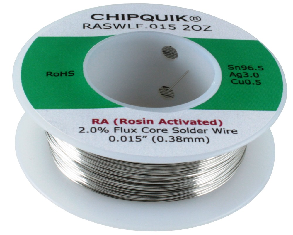 LF Solder Wire 96.5/3/0.5 Tin/Silver/Copper Rosin Activated .015 2oz 0
