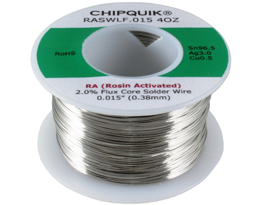 LF Solder Wire 96.5/3/0.5 Tin/Silver/Copper Rosin Activated .015 4oz 0