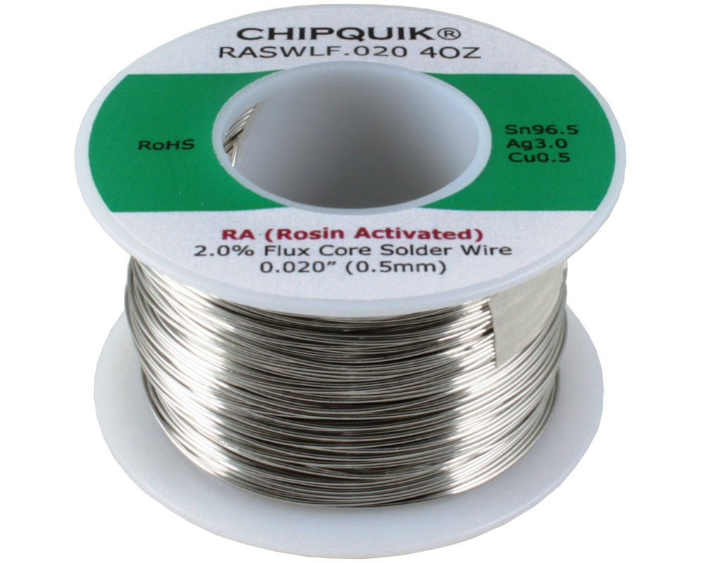 LF Solder Wire 96.5/3/0.5 Tin/Silver/Copper Rosin Activated .020 4oz 0