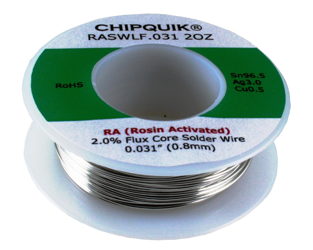 LF Solder Wire 96.5/3/0.5 Tin/Silver/Copper Rosin Activated .031 2oz 0