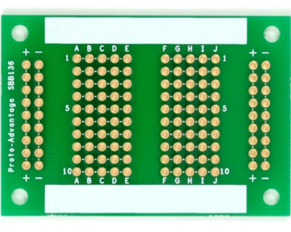 136 pts solder-in breadboard (Exact Solderless Match) 0
