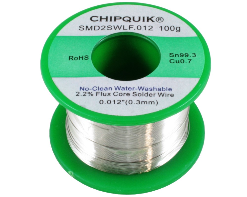LF Solder Wire 99.3/0.7 Tin/Copper No-Clean Water-Washable .012 100g ULTRA THIN 0