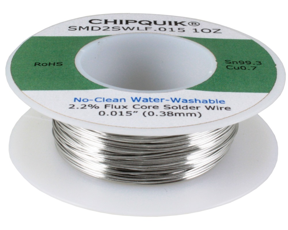 LF Solder Wire 99.3/0.7 Tin/Copper No-Clean Water-Washable .015 1oz 0