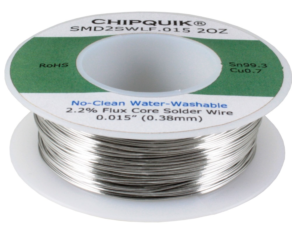 LF Solder Wire 99.3/0.7 Tin/Copper No-Clean Water-Washable .015 2oz 0