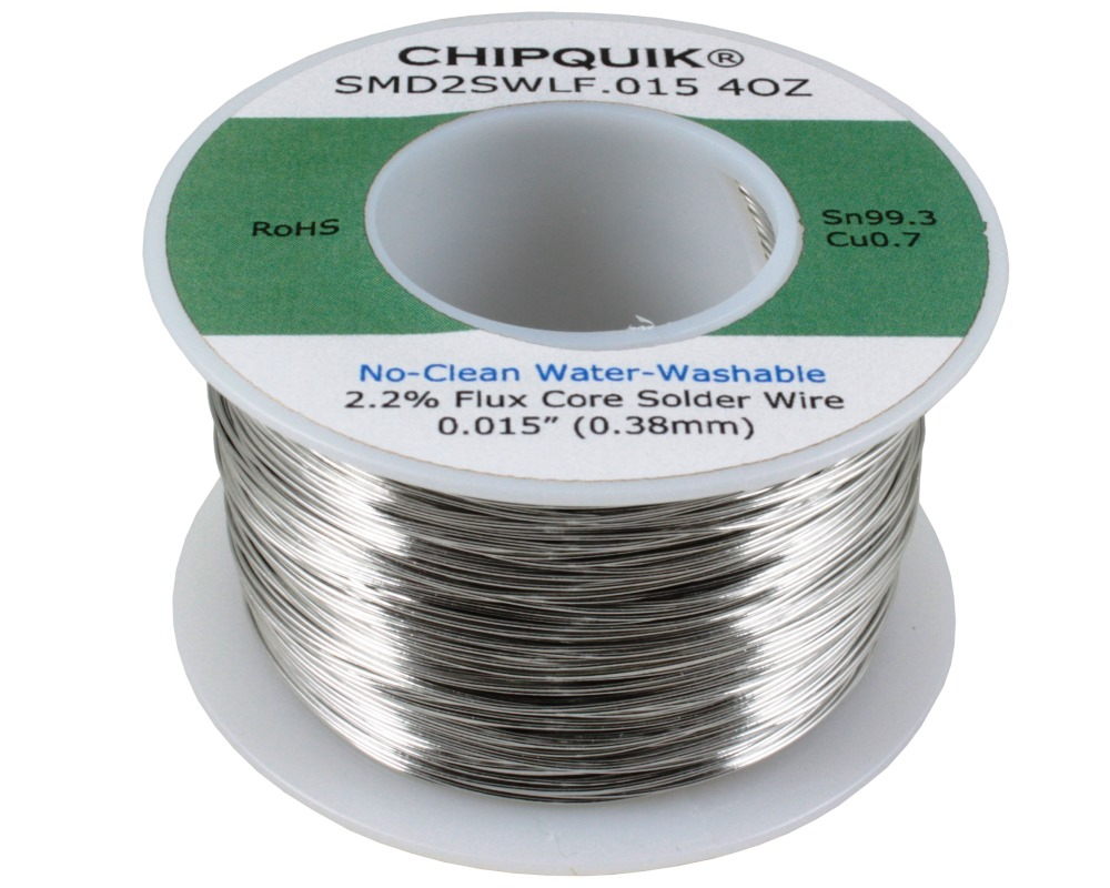 LF Solder Wire 99.3/0.7 Tin/Copper No-Clean Water-Washable .015 4oz 0