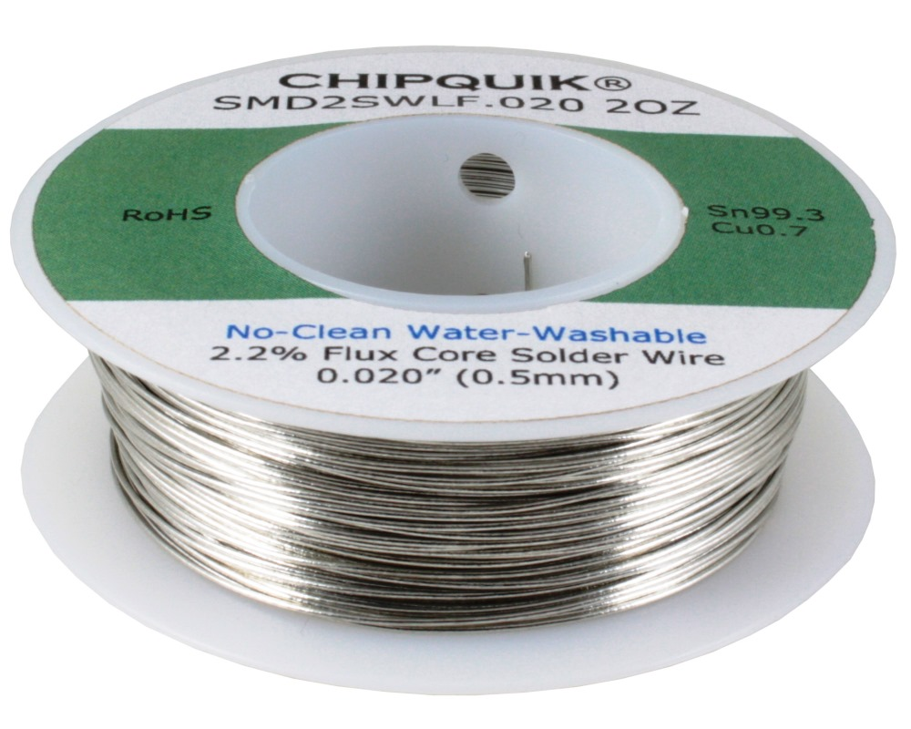 LF Solder Wire 99.3/0.7 Tin/Copper No-Clean Water-Washable .020 2oz 0