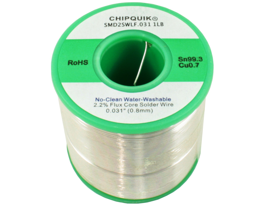 LF Solder Wire 99.3/0.7 Tin/Copper No-Clean Water-Washable .031 1lb 0